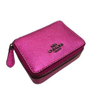 COACH Metallic Cerise Pink Triple Pill Box  F37569